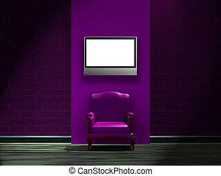 Alone purple chair with LCD tv on the wall