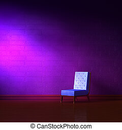 Blue leather chair in purple minimalist interior