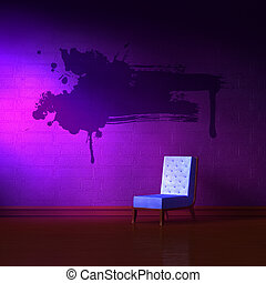 Blue leather chair with grunge splah in purple minimalist...