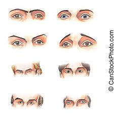 Body parts: eyes - Watercolor illustration: several human...