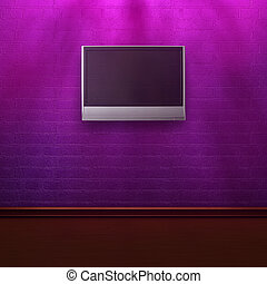 purple brick wall with LCD tv in shadows