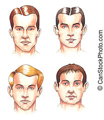 Body parts: faces - Watercolor illustration: set of...