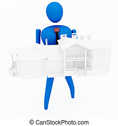 3D person holding a house isolated over a white background