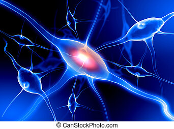 Illustration of a nerve cell on a colored background with...