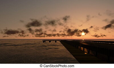 Pier in Ocean at sunset, time lapse