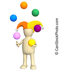 3d clown - puppet, juggling with balls - 3d clown - puppet,...