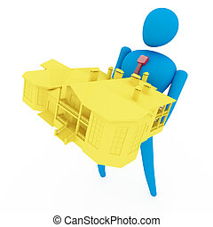 3D person holding a yellow house isolated over a white background