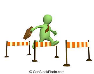 3d puppet - 3d businessman - puppet, jumping through a...