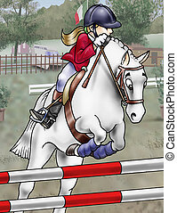 Horse jumping - Artistic illustration of a girl and her...