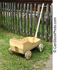 Old hand made wagon, toy for small children