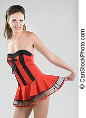 woman in red short dress - young woman in red short dress