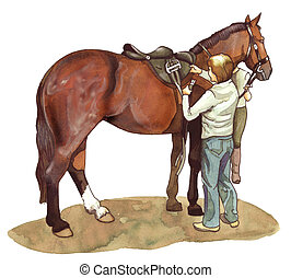 Checking before riding - Watercolor illustration of a groom...