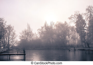 sea park - a foggy landscape on a november morning