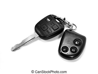 A car key with remote on white background