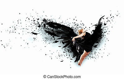Woman floating on dark wings - Woman floating in a dance on...