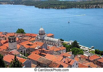 Sibenik - Croatia - Sibenik in Dalmatia. Cathedral church is...