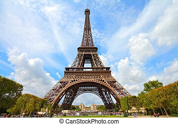 Paris, France - Eiffel Tower seen from Champ de Mars. UNESCO...