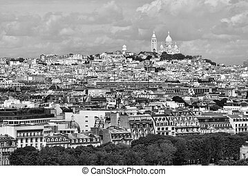 Paris - Montmartre - Montmartre aerial view with famous...