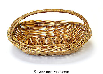Small wicker basket over the white background