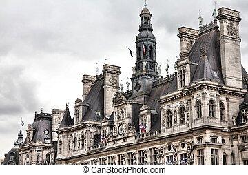 Paris - Hotel de Ville - Paris, France - close-up of Hotel...