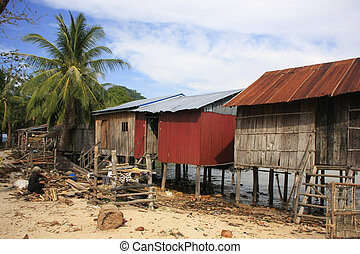 Stilt houses on Koh Rong Samlon island, Cambodia, Southeast...