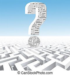 of a question mark over the maze - illustration of a...