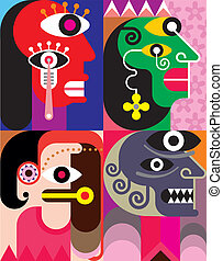 Four Faces - abstract vector image - Four portraits Abstract...