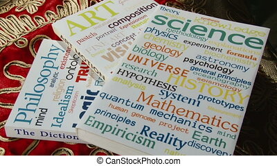 Books - Philosophy, Art, Science, close up cover design made...
