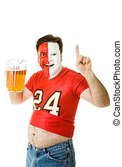 Sports Fan with Beer Belly - Sports fan with painted face...