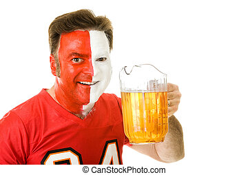 Thirsty Sports Fan - Thirsty sports fan with painted face,...