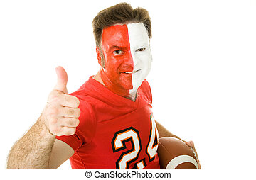 Painted Sports Fan Thumbsup - Football fan in jersey and...