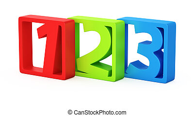 Digits in frames - Colorful digits 1, 2, 3 in the frames