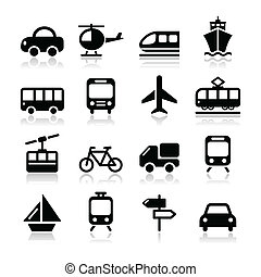 Transport, travel vector icons set - Black icons set with...