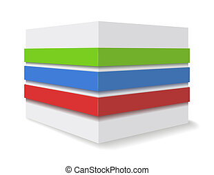 Advertising cube. - Curbstone and multicolored stripes.