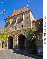 Sighisoara, Transylvania - historic tower gate in...