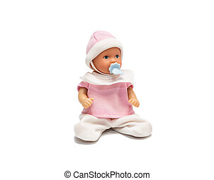 Baby doll in pink clothes isolated on white background....
