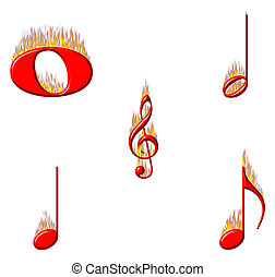 Music Notes on Fire 1 of 2