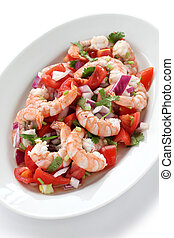 shrimp ceviche , prawn ceviche - seafood marinated salad
