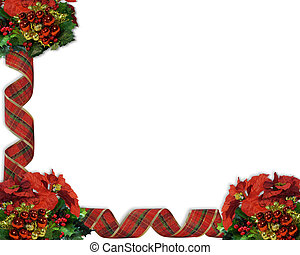Christmas Border Ribbons and bauble - Image and illustration...