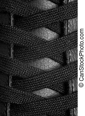 black shoelace - closeup of black shoelace in leather shoe...