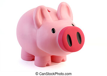 Pink pig money box - Pink Piggy bank - isolated on white