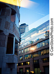 Office building in city of London by night