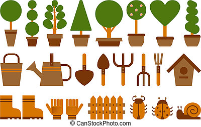 set of garden icons - set of garden tools and topiary in...
