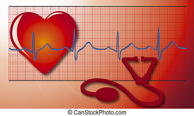 cardio - illustration of heart, cardiogram, equipment