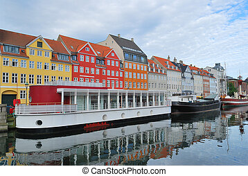 Copenhagen, Nyhavn - Copenhagen, Denmark. Old houses in the...