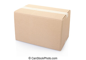 Cardboard box closed with tape - Cardboard box isolated on...