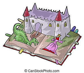 A fairy-tale book - Artistic illustration. Fairy tale pop-up...