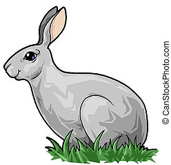 Cute hare in the grass - Artistic illustration. Cute hare in...