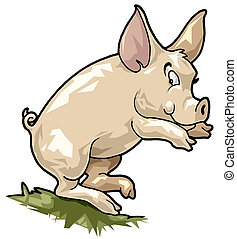 Smiling pig Cartoon style - Artistic illustration Smiling...