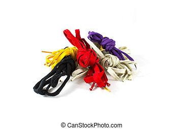 Colour shoelace, white, purple, black, yellow, isolated on...